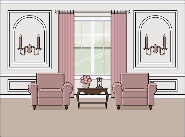 Interno camera in stile classico, design piatto,