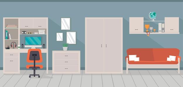 Interno camera moderna con area di lavoro alla moda, divano, armadio e cassettiera in stile piatto.