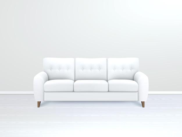Interno con illustrazione del divano in pelle bianca