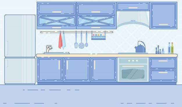 Interno confortevole della cucina della casa dello spazio moderato