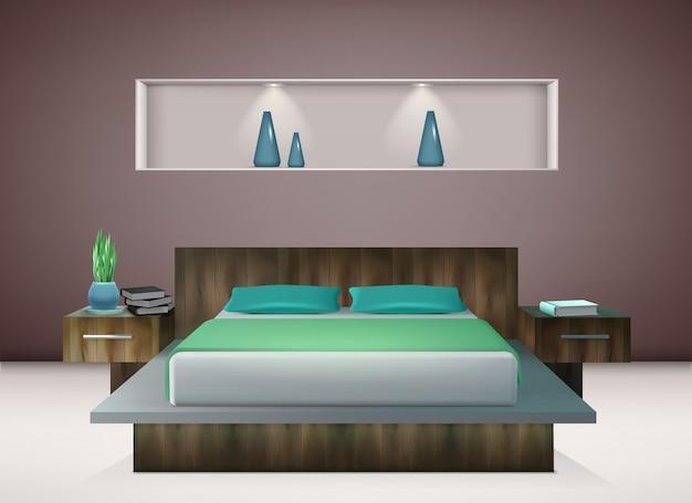Interno contemporaneo della camera da letto con biancheria da letto in tonalità delle decorazioni murali verde smeraldo e dell'acquamarina dell'illustrazione realistica
