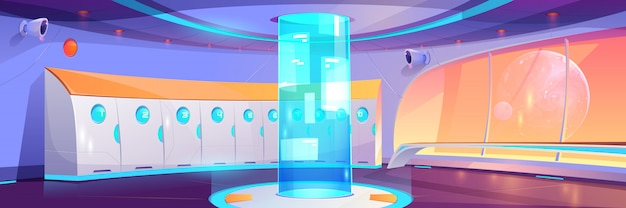 Interno corridoio scuola futuristica con armadietti