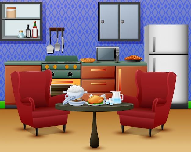 Interno cucina accogliente con mobili e set di tavolo da pranzo