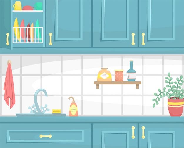 Interno cucina con armadi in legno. affondare sul piano di lavoro e piatto. illustrazione piatta.