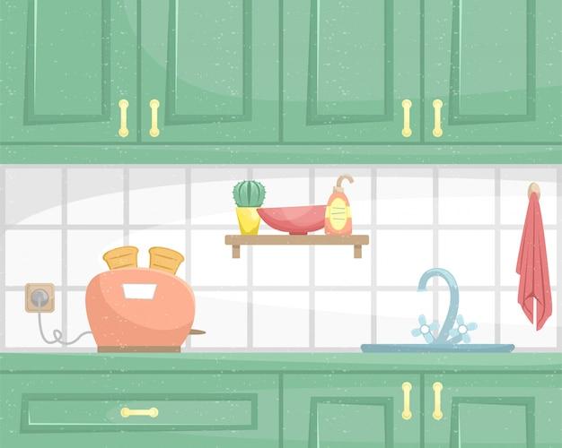 Interno cucina con armadi in legno. lavello e tostapane sul piano di lavoro. illustrazione piatta.