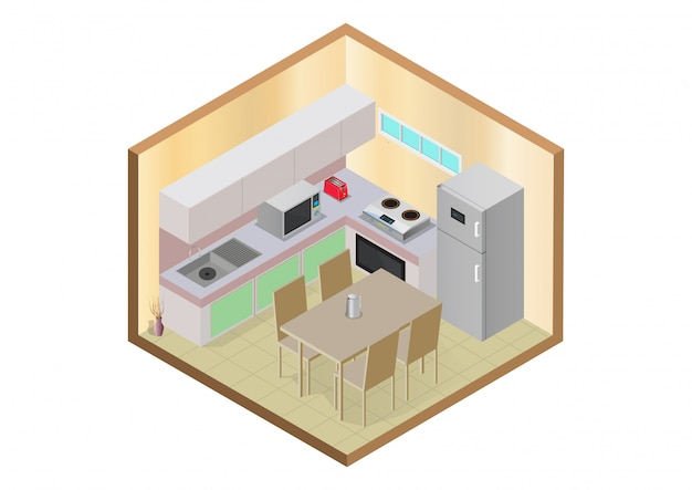 Interno cucina moderna isometrica.