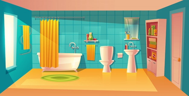 Interno del bagno, camera con mobili. vasca bianca con tenda, armadio con ripiani