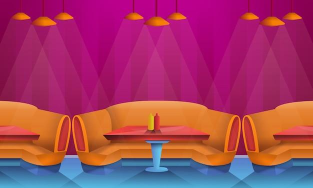 Interno del caffè del fumetto con i divani, illustrazione di vettore