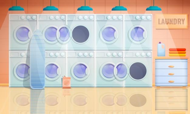 Interno del fumetto della stanza di lavanderia con le lavatrici, illustrazione di vettore
