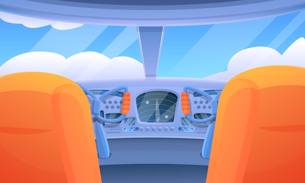 Interno del fumetto di una cabina di pilotaggio dell'aeroplano di volo, illustrazione di vettore