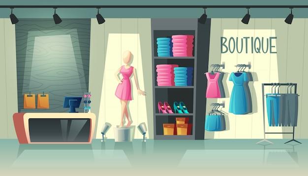 Interno del negozio di abbigliamento - guardaroba con abiti da donna, manichino di cartone animato e roba sui ganci