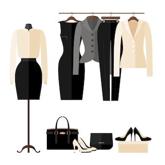Interno del negozio di vestiti delle donne con i vestiti di affari nello stile piano isolato su bianco.