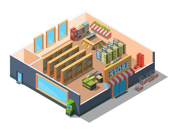 Interno del supermercato. sezione trasversale del centro commerciale della costruzione del mercato al dettaglio con le sezioni della drogheria e dell'attrezzatura poli basso isometrico 3d
