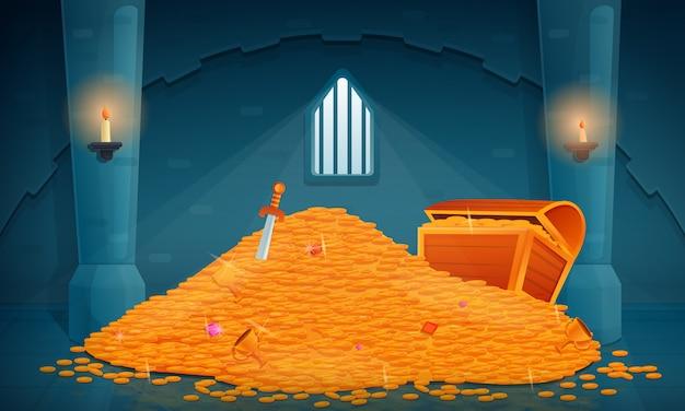 Interno del tesoro in un vecchio castello pieno di oro e gioielli, illustrazione
