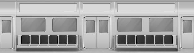Interno del vagone del treno con sedili, finestre e porte chiuse. sfondo realistico con finestre di vetro, porte scorrevoli, corrimano e sedie in carrozza della metropolitana. vagone della metropolitana vuoto all'interno