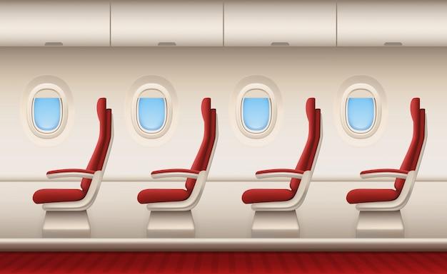 Interno dell'aereo passeggeri, cabina dell'aeromobile con gli oblò bianchi delle finestre del primo piano dentro le sedie di comodità