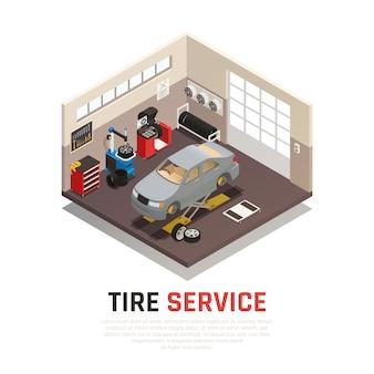 Interno dell'officina di servizio pneumatici con martinetti per automobili equipaggiamento per pneumatici e attrezzature di bilanciamento