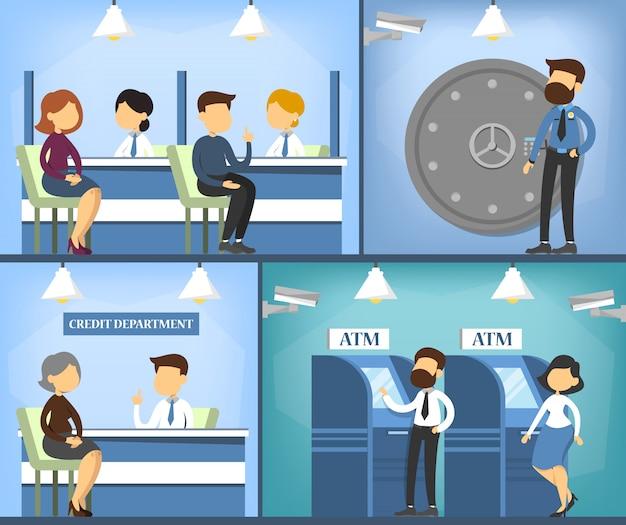 Interno dell'ufficio bancario. manager, cassiere e cliente.