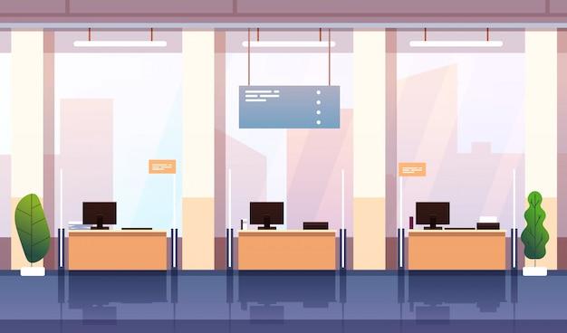 Interno della banca. posto di lavoro vuoto del centro di consulenza dell'ufficio bancario. investimento bancario, affari finanziari e fondo del fumetto di crescita di ricchezza