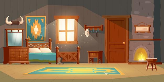 Interno della camera da letto del cowboy in casa rustica