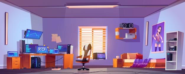 Interno della camera da letto del ragazzo dell'adolescente, computer sullo scrittorio