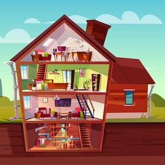 Interno della casa a tre piani in sezione trasversale con seminterrato, edificio privato a più piani del fumetto