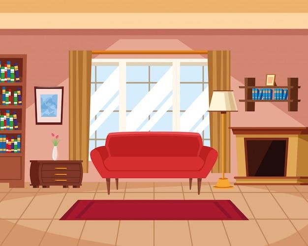 Interno della casa con mobili
