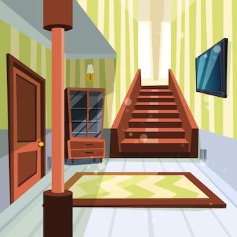 Interno della casa. corridoio della stanza leggera dell'appartamento con la scala e le illustrazioni del fumetto del magazzino
