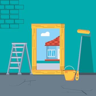 Interno della casa in costruzione con strumenti