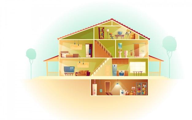 Interno della casa in sezione trasversale con seminterrato e sottotetto