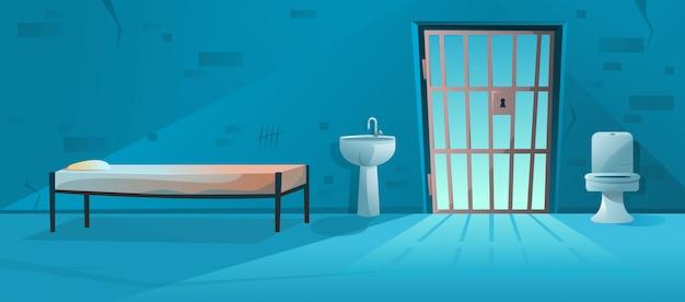 Interno della cella di prigione della camera di prigione