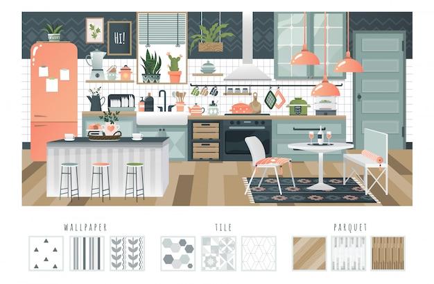 Interno della cucina con atmosfera accogliente, disposizione confortevole ed elettrodomestici moderni, illustrazione