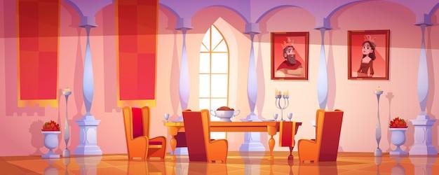 Interno della sala da pranzo nel castello reale medievale