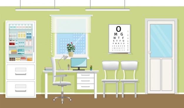Interno della sala di consultazione del medico in clinica. progettazione vuota dell'ufficio medico. ospedale che lavora nel concetto di assistenza sanitaria. illustrazione vettoriale