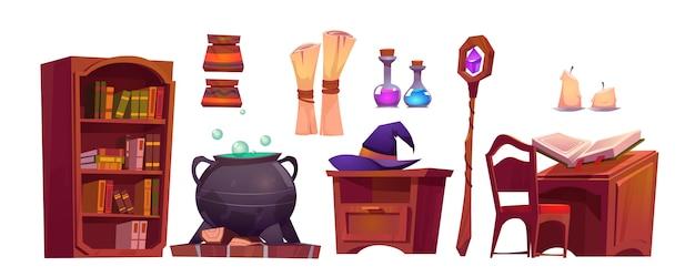 Interno della scuola magica con libro aperto di incantesimo, rotolo di carta, personale e calderone con pozione