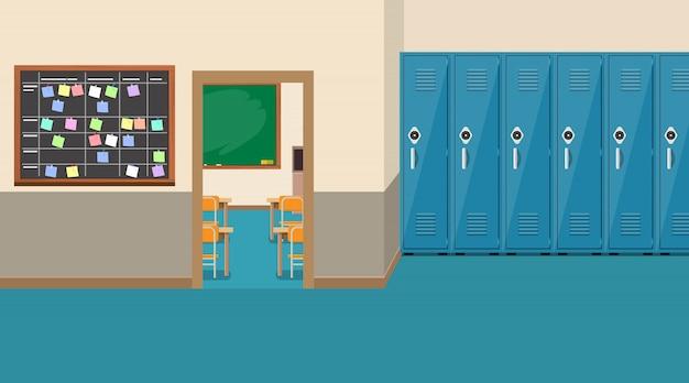 Interno della scuola vuota, porta aperta in classe
