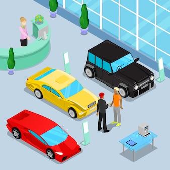 Interno dello showroom di vendite di auto con auto fuoristrada e auto sportive. cliente che acquista un'auto nuova.