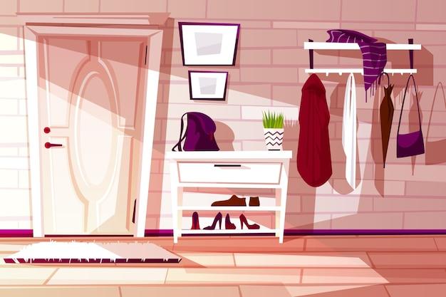Interno di casa dei cartoni animati, corridoio con mobili - scaffale, rack e appendiabiti con vestiti.