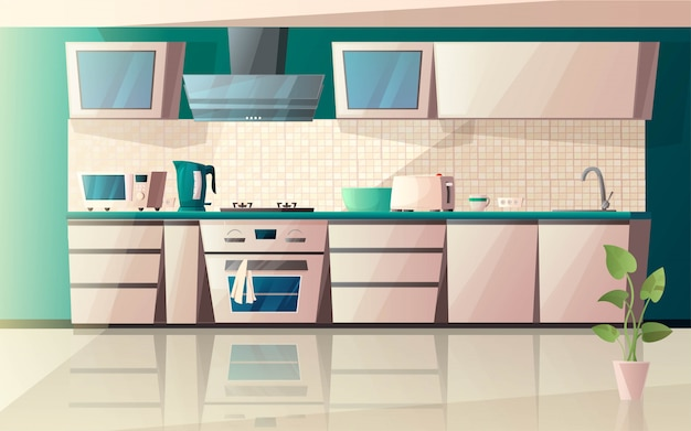 Interno di cucina moderna con attrezzature speciali. microonde, forno, cappa aspirante, tostapane, piano cottura, tostapane, bollitore e fiori in vaso sul pavimento. illustrazione di cartone animato