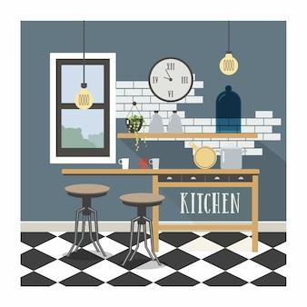 Interno di cucina moderna in stile loft.