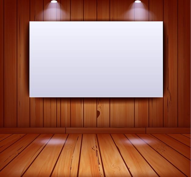 Interno di galleria realistica sul fondo della parete in legno