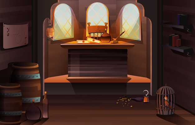 Interno di legno della stanza della cabina della nave di capitano pirata