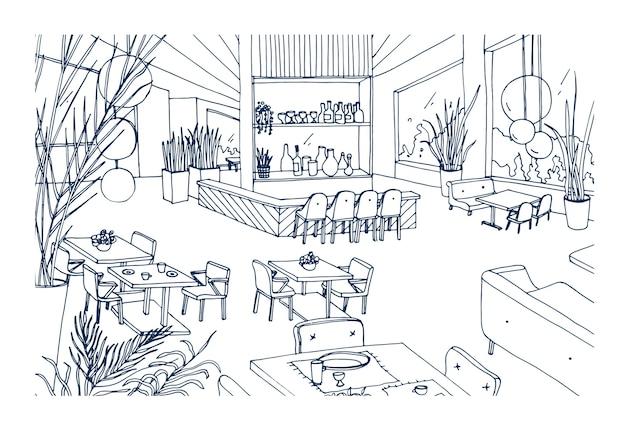 Interno di ristorante o bistrot con arredi moderni disegnati a mano con contorni. disegno a mano libera di caffetteria o bar arredato in elegante stile loft. illustrazione vettoriale monocromatica.