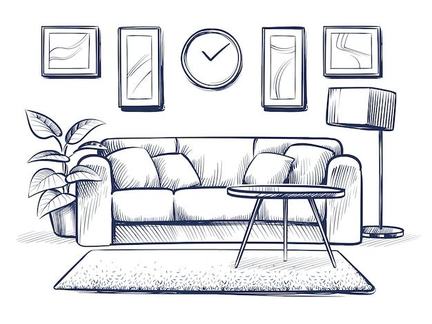 Interno di schizzo. doodle soggiorno con divano, cuscini e cornici sulla parete.