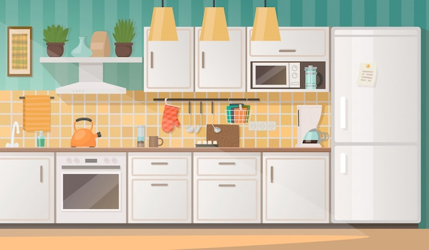 Interno di una cucina accogliente con mobili ed elettrodomestici. illustrazione vettoriale