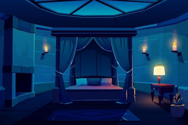 Interno di vettore del fumetto della camera da letto dell'hotel di notte