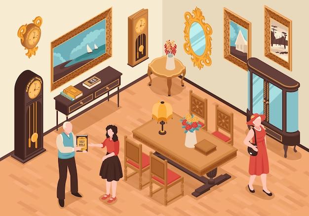Interno isometrico del negozio di antiquariato con visitatori di mobili d'epoca e venditore che mostra il libro antico