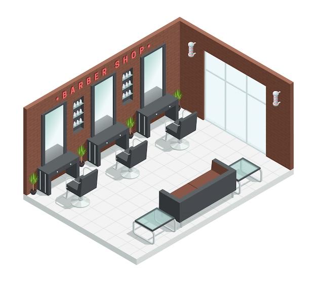 Interno isometrico del salone del negozio di barbiere con gli specchi della composizione nella stanza dello studio