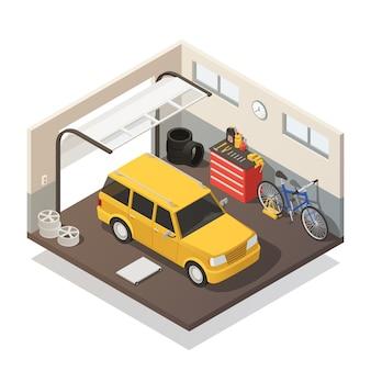 Interno isometrico di servizio di manutenzione dell'automobile