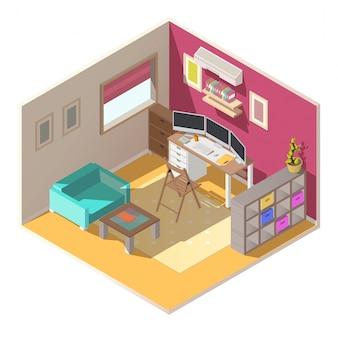 Interno isometrico di vettore del piccolo ufficio domestico